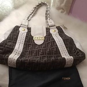Fendi Rare vintage white leather and velour bag